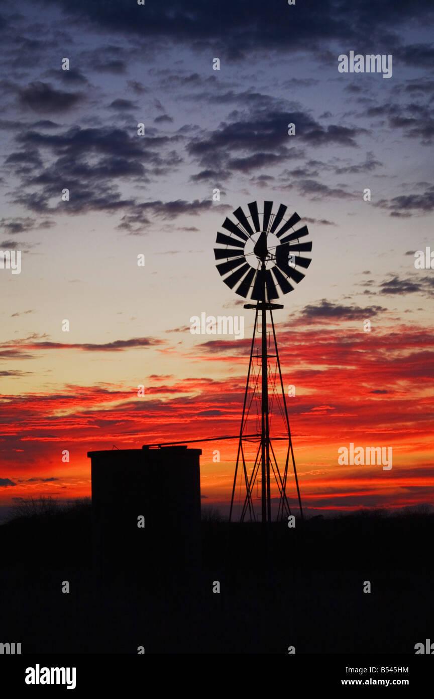 Wind mill at sunset Sinton Corpus Christi Coastal Bend Texas USA - Stock Image