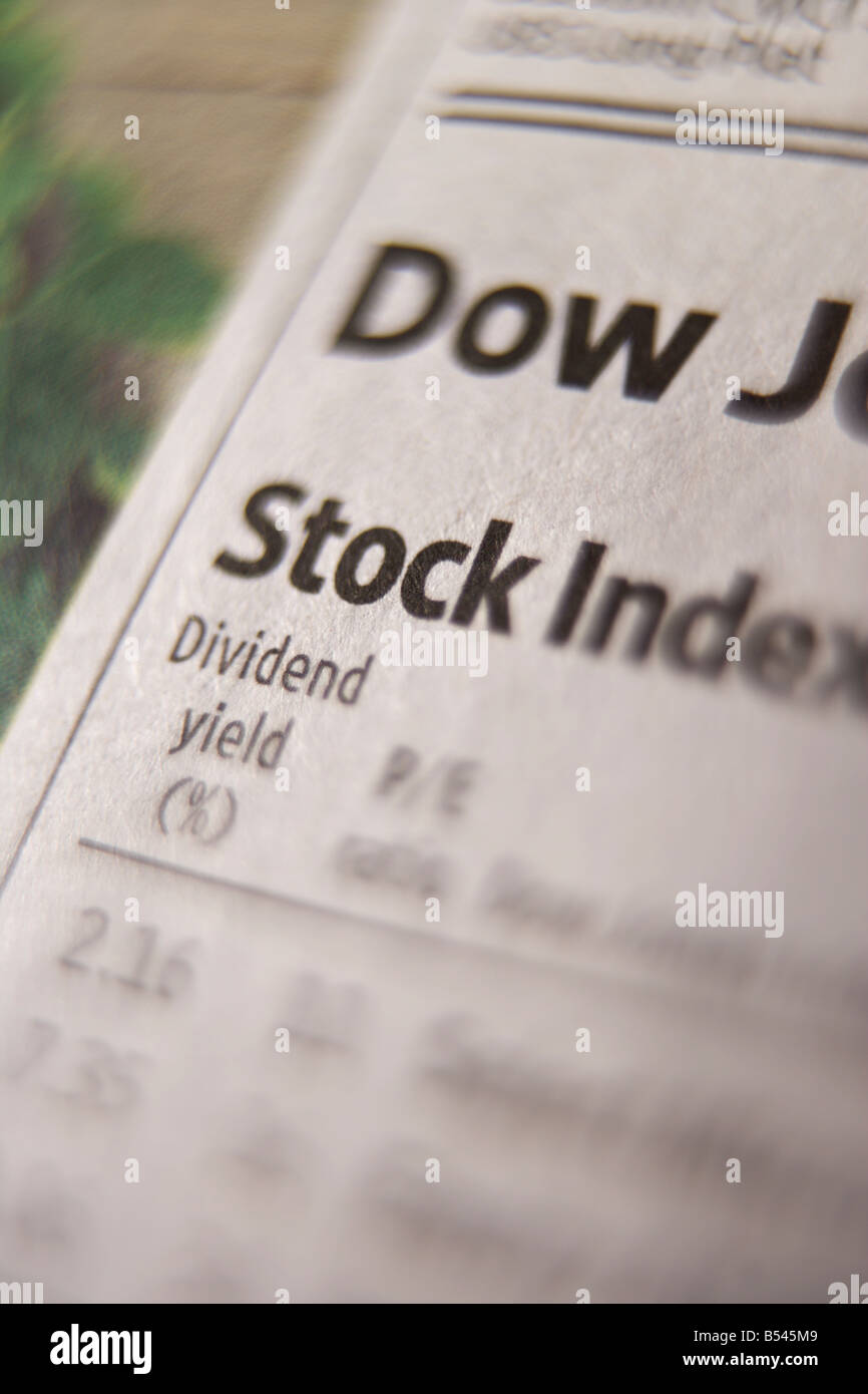 Close up of newspaper stock indexes - Stock Image