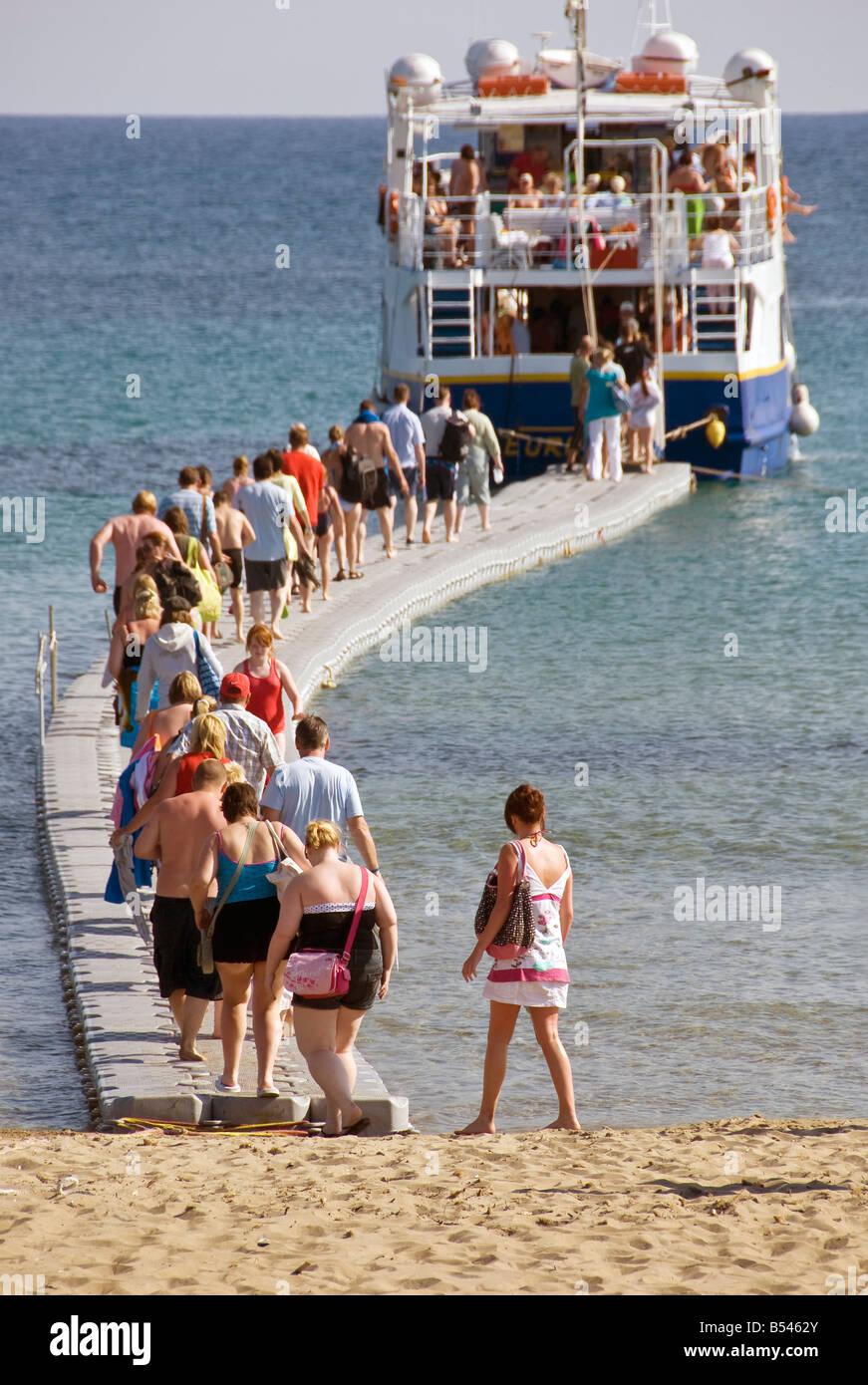 Boarding the ferry at Agios Nickolas, Zante, Ionian Islands Greece. - Stock Image