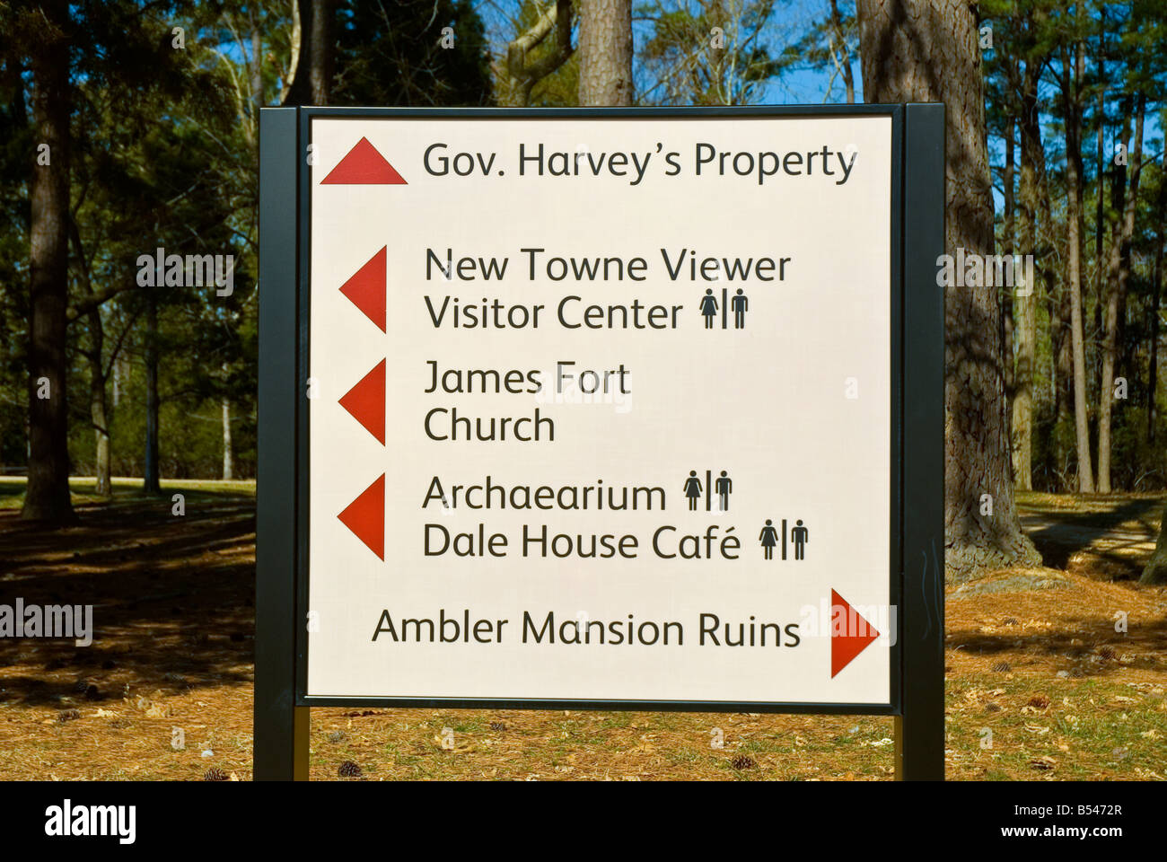 Virginia Historic Jamestowne jamestown landing direction sign new towne ambler mansion fort james Stock Photo