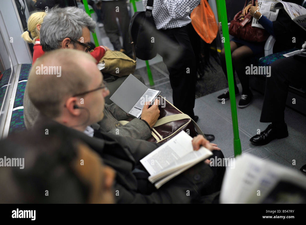 Read e book London britain tube underground,ebook - Stock Image