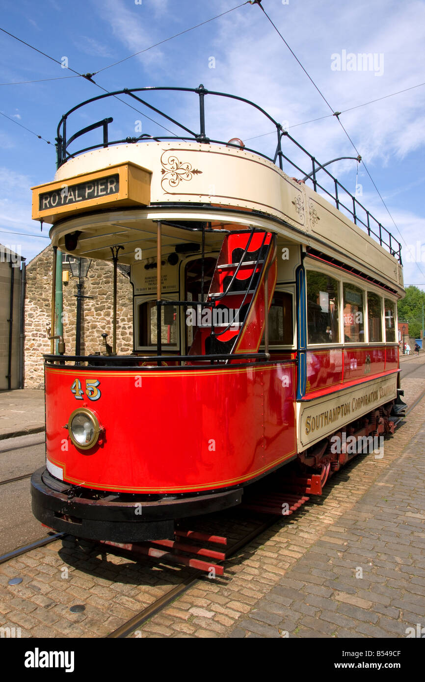 southampton corporation tram number 45 at crich - Stock Image