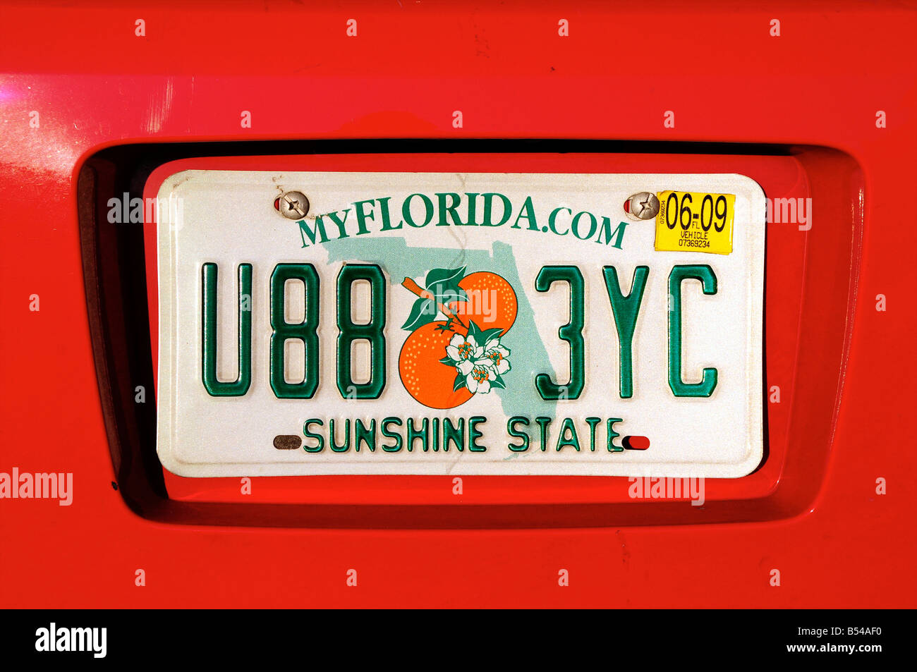 Florida car number plate, USA - Stock Image