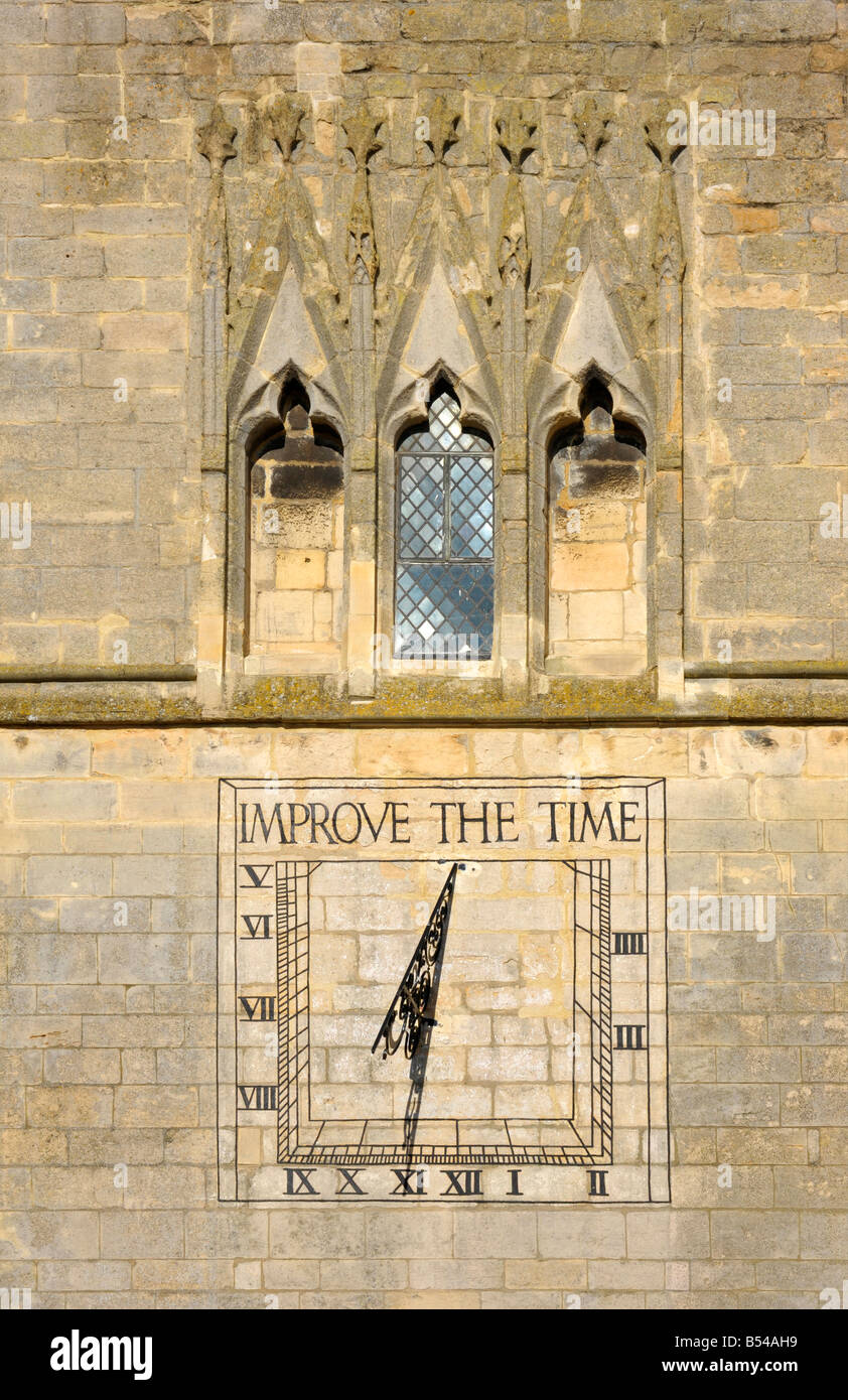 The sundial on St Dionysus Church in Market Harborough Leicestershire - Stock Image