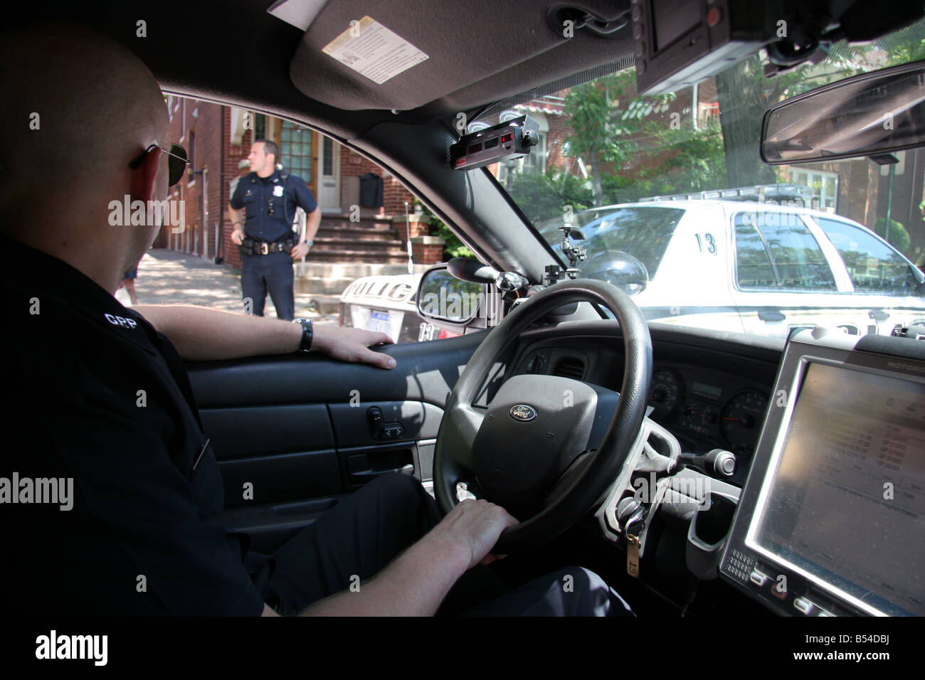 Cops in Grosse Pointe Park Michigan USA - Stock Image