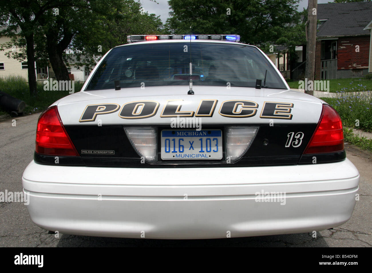 Rear of Grosse Point Park Police car - Stock Image