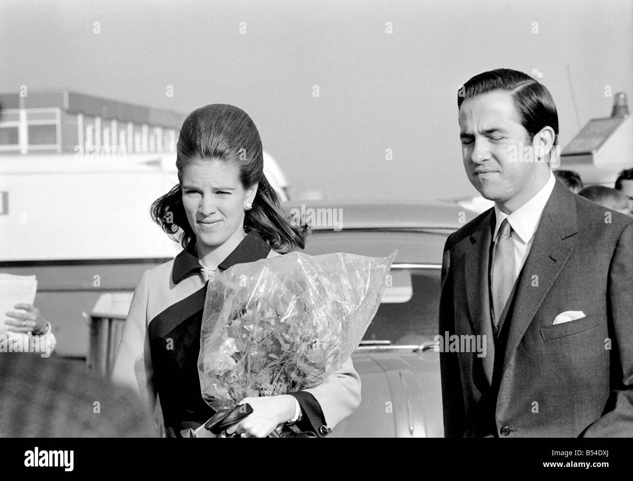 Royalty: King Constantine of Greece, with his wife Anne-Marie arriving in London today. November 1969 Z10527-002 - Stock Image