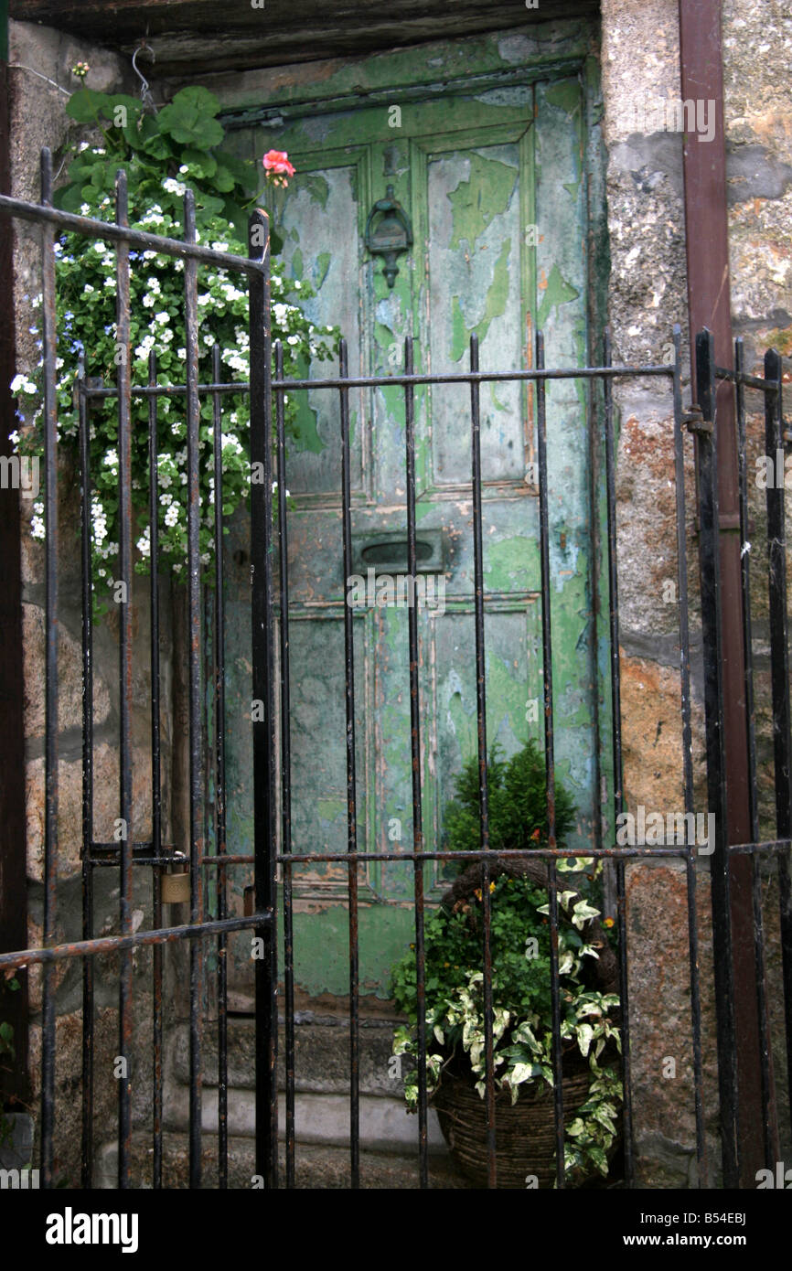 Old Green Door In St Ives Cornwall England