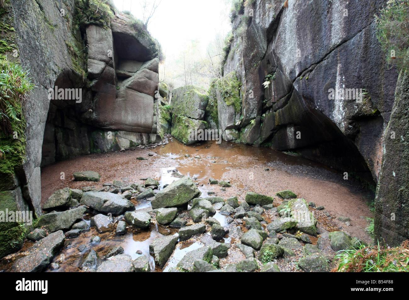 Geological feature of Burn O' Vat near Dinnet,  Aberdeenshire, Scotland, UK - Stock Image