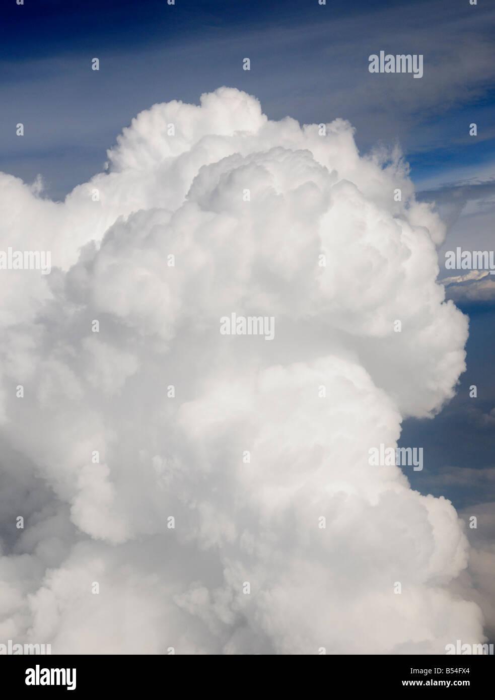Aerial view looking down on a cumulonimbus thunderstorm cloud - Stock Image