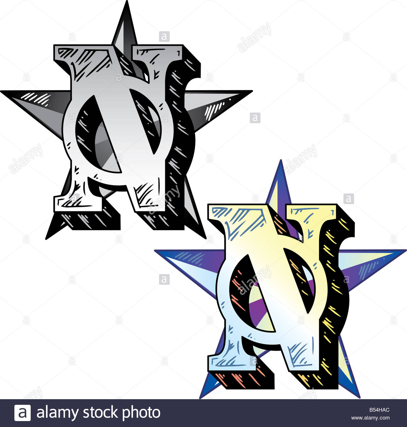 Hand drawn tattoo style letter N with relevant symbols incorporated ...