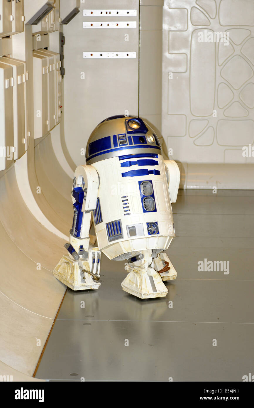 R2D2 character from the Star Wars Movie seen at the London Movie Museum - Stock Image