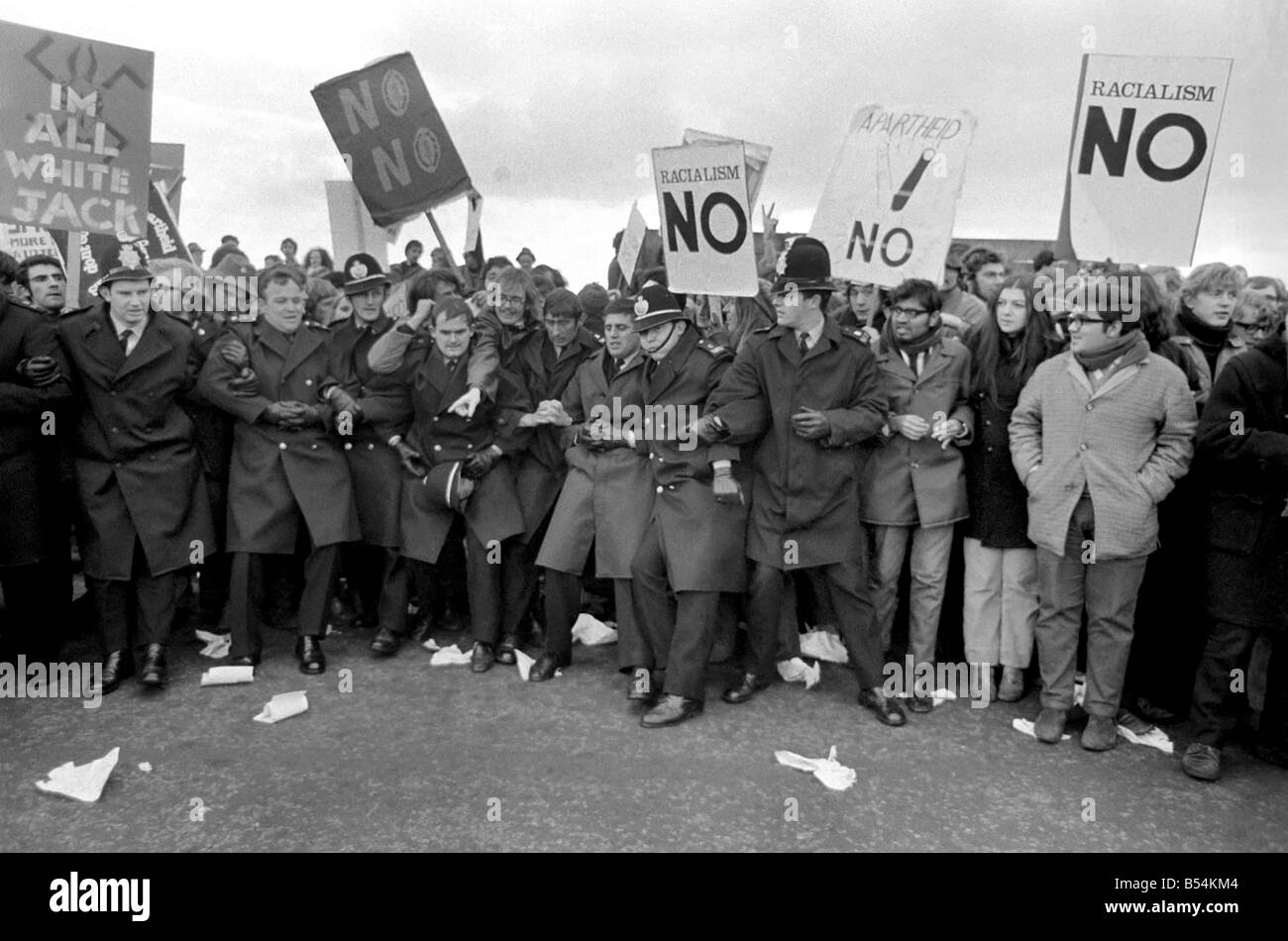 Swansea v. South Africa. Demonstrations against the visit of the South Africa rugby team, and apartheid policy with - Stock Image