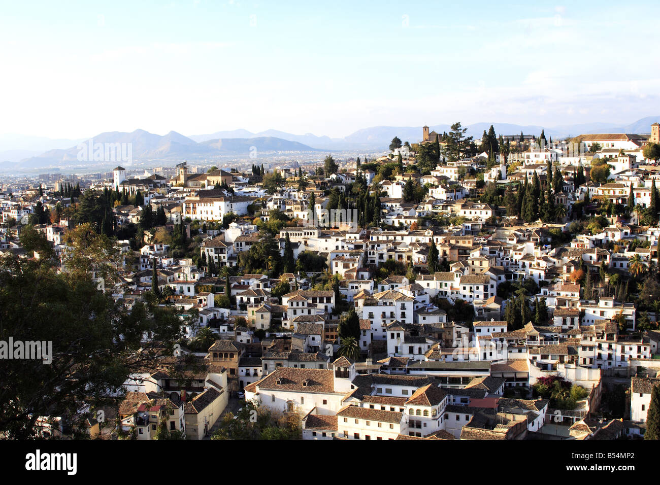 Albaycin district view from the Alhambra in Granada, Spain Stock Photo
