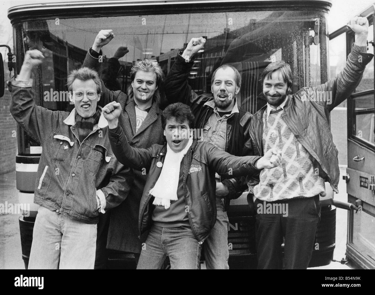 The launch of Lindisfarne s big tour with band members left to right Ray Laidlaw Steve Daggett Marty Craggs Rod - Stock Image