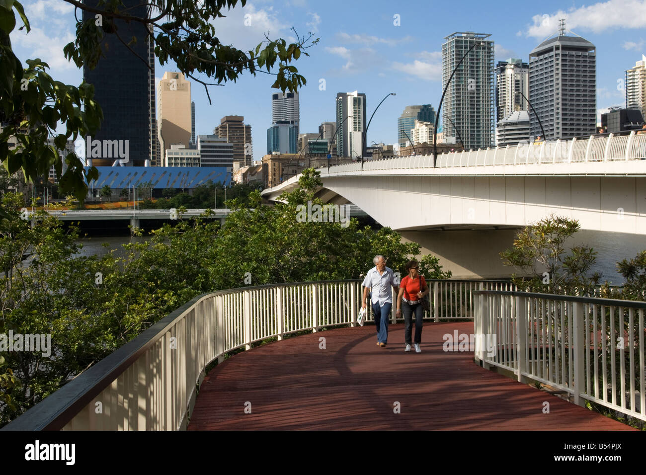 Walking on the South Bank, Brisbane, Australia - Stock Image