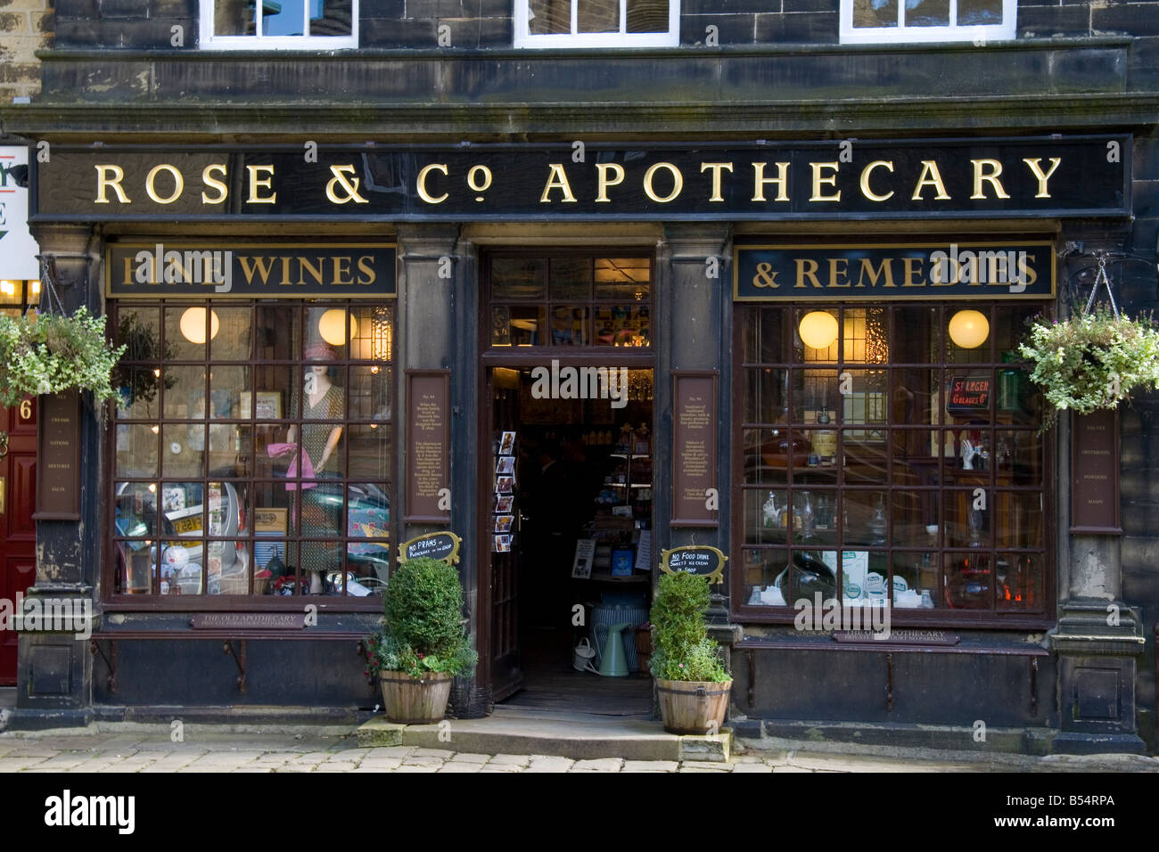 Rose & Co. Apothecary shop in the village of Haworth in West Yorkshire, the shop where Branwell Bronte bought - Stock Image