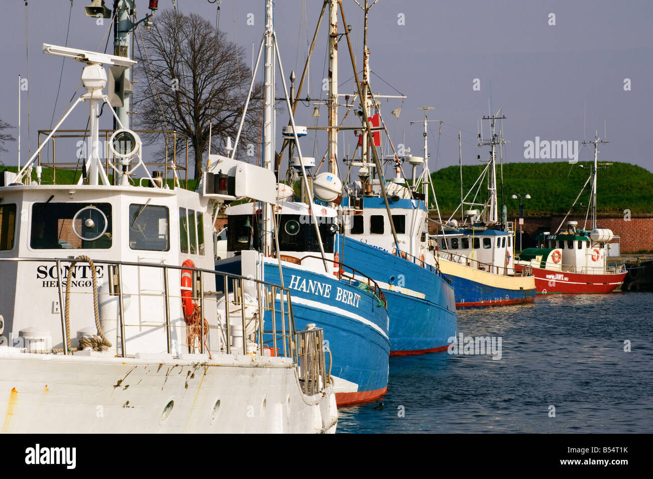 Fishing boats at Helsingør Denmark - Stock Image