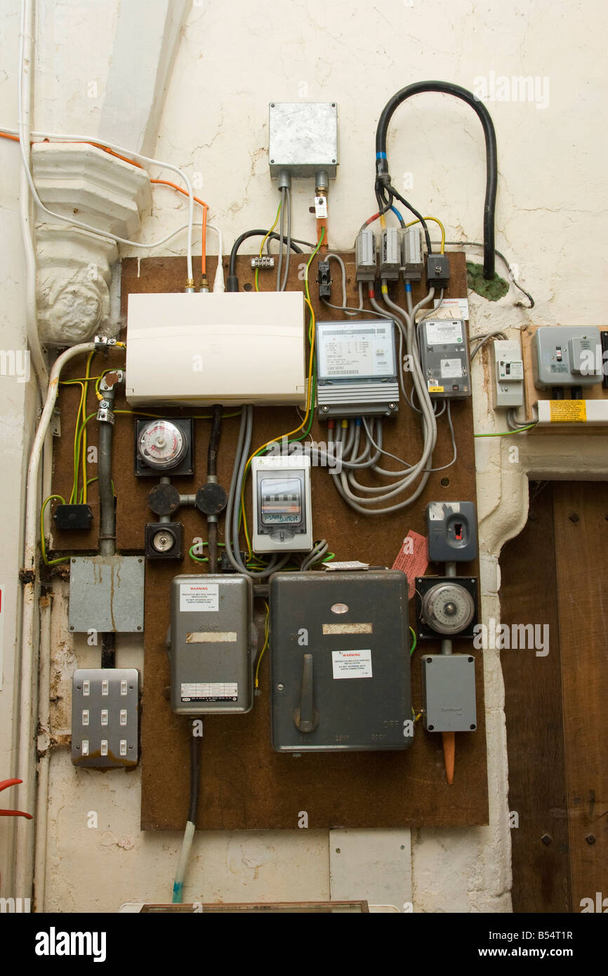 electricity fuse box and meter in an old church Stock Photo - AlamyAlamy