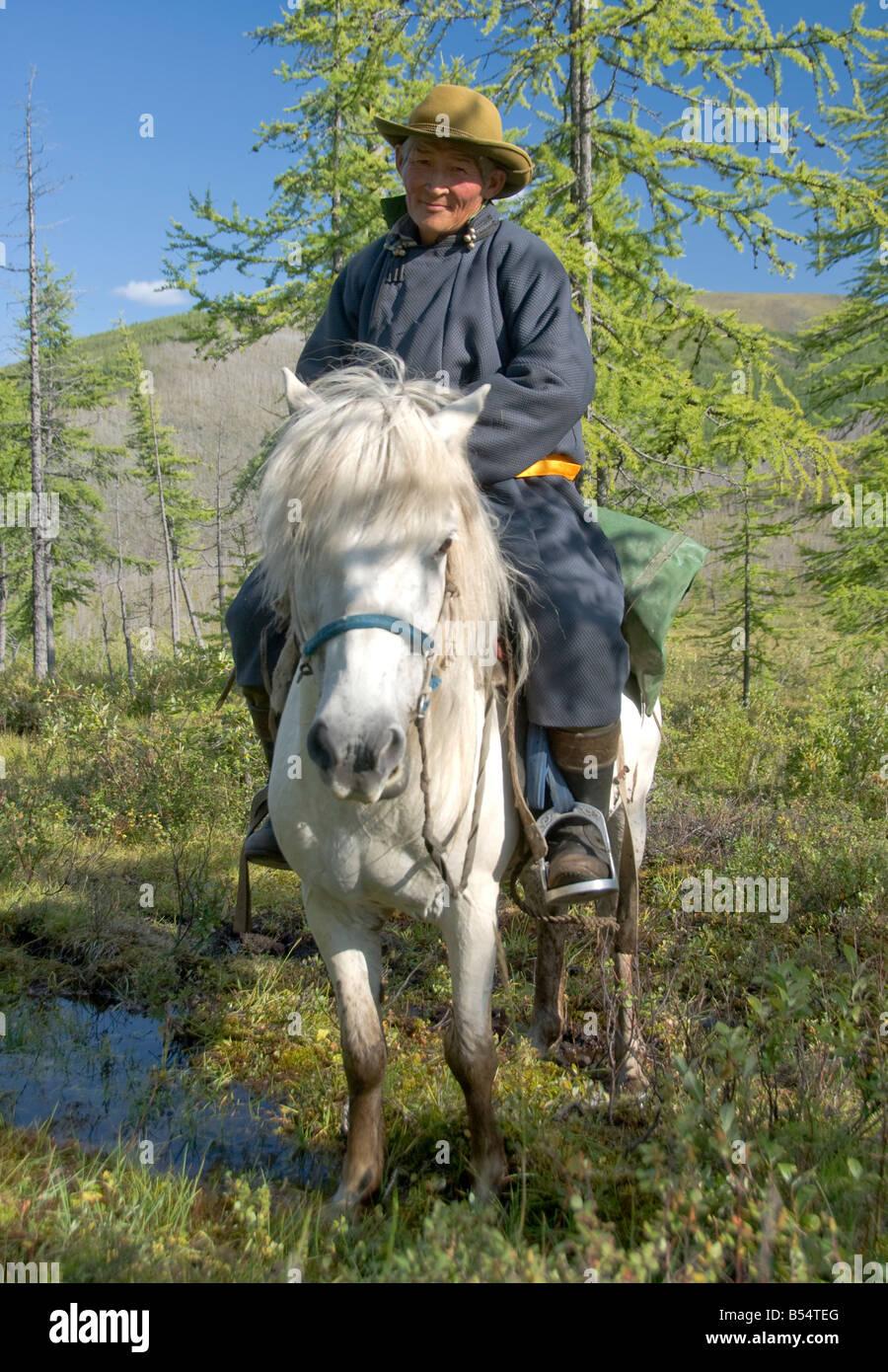 Mongolian Rider Northern Mongolia - Stock Image