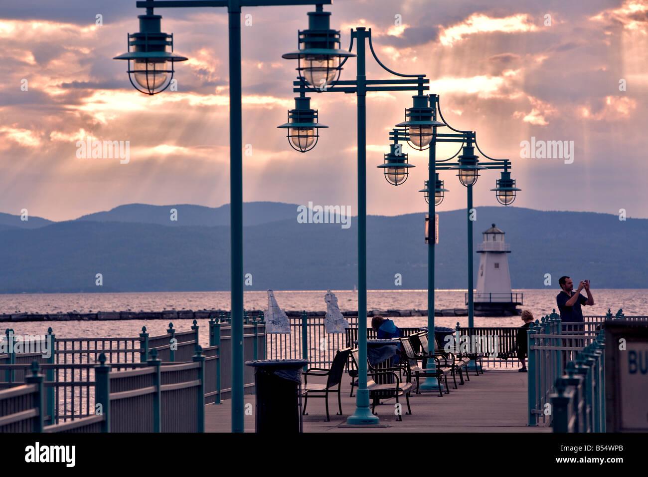 Burlington VT waterfront on Lake Champlain Stock Photo