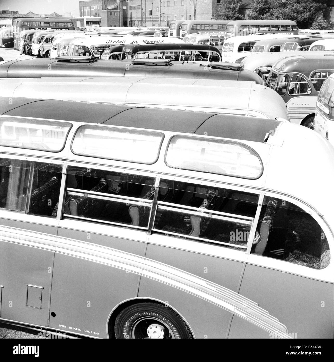 Dozens of buses parked near the beach at Margate which have transported people for their holidays. ;June 1960 ;M4328 - Stock Image