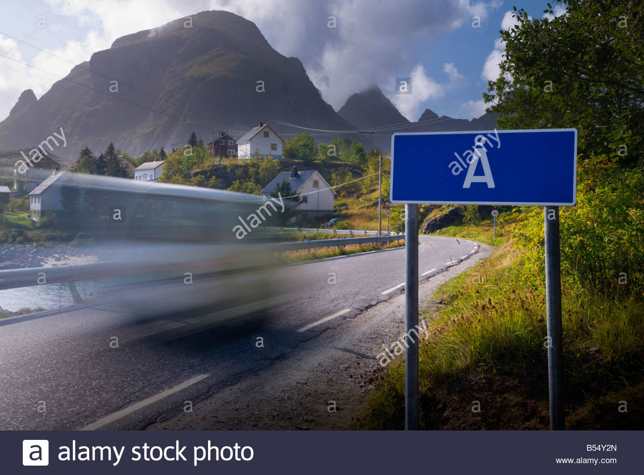The roadsign for Å, a village in the Lofoten Islands, Norway, notable for its incredibly short name. - Stock Image
