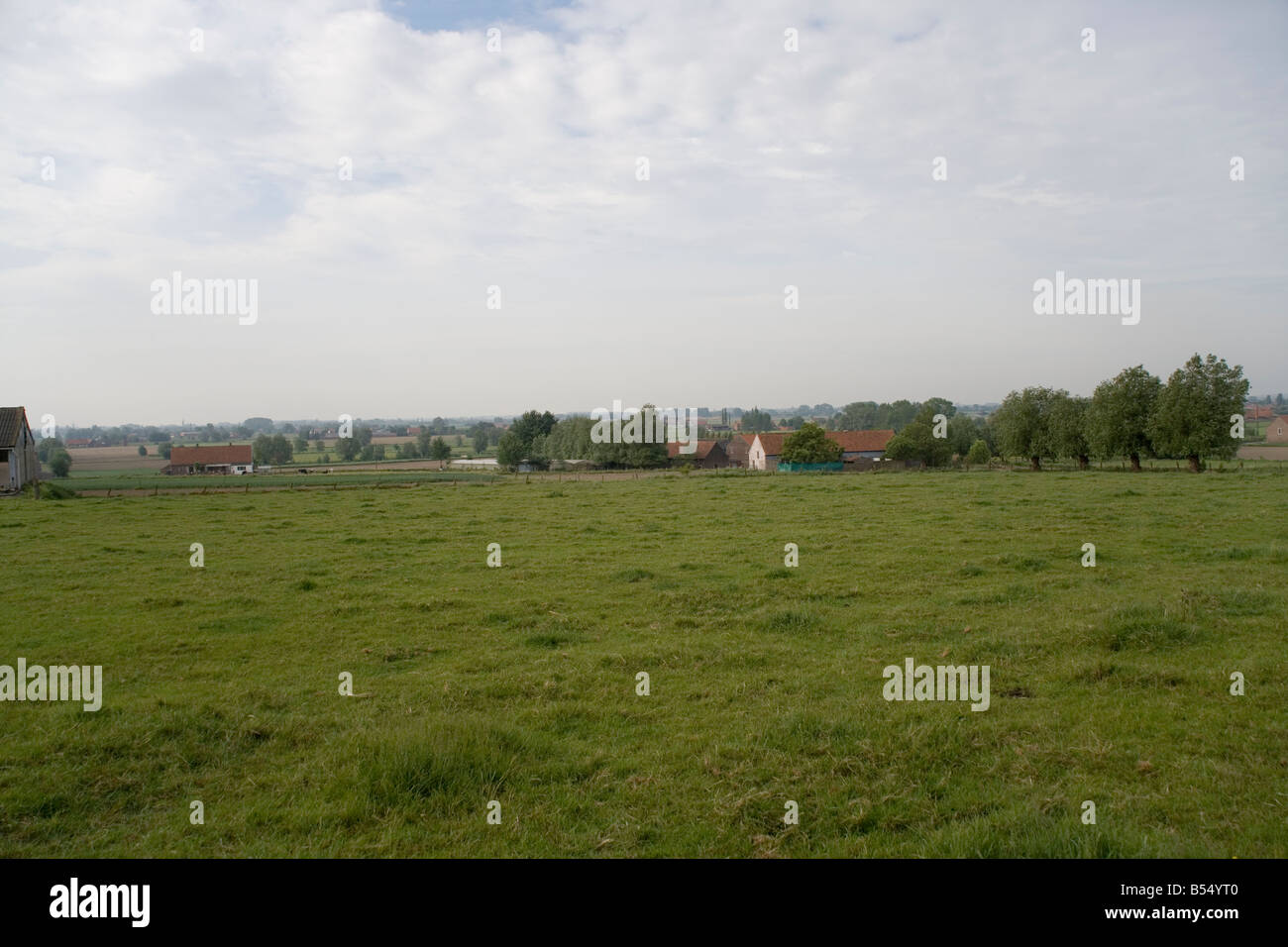 View from The Household Cavalry Monument, Zandvoorde near Ypres, memorial to the battles of October 1914 ,First - Stock Image