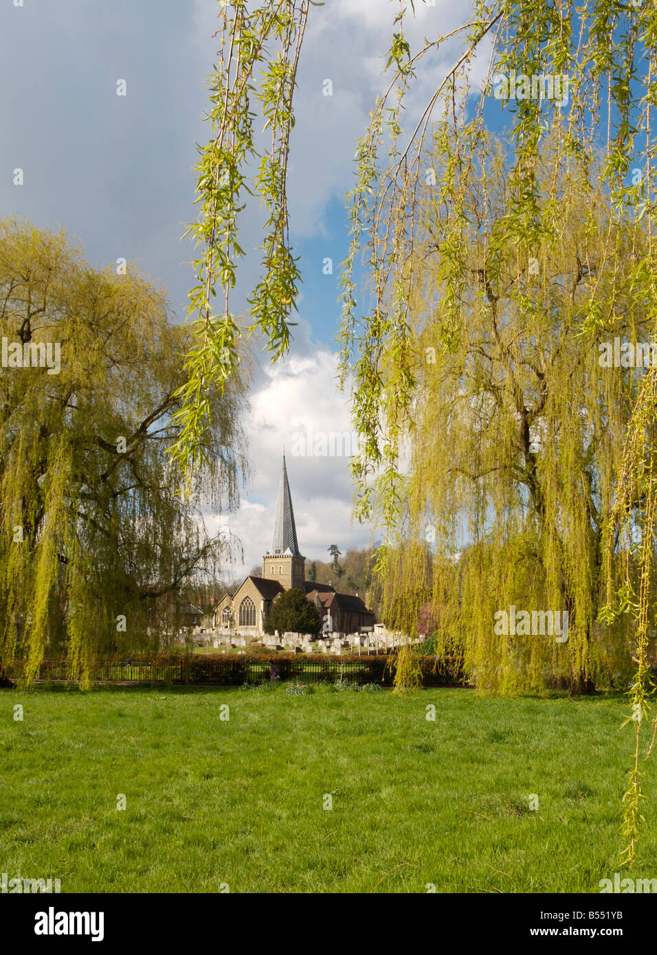 St Peter and St Paul parish church Godalming, viewed from the Lammas water meadows - Stock Image