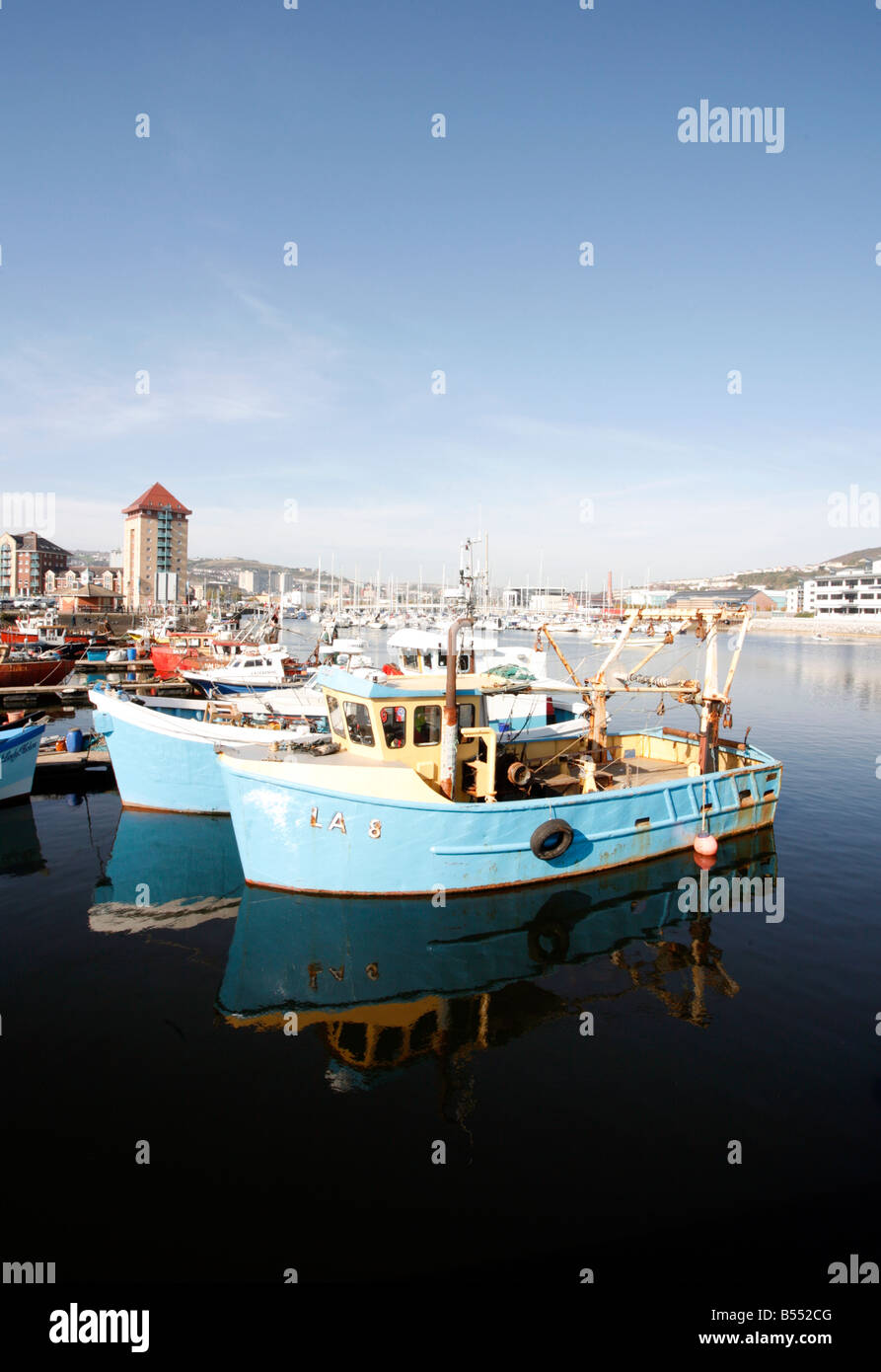 Fishing Boats in Swansea Harbour Abertawe South Wales - Stock Image