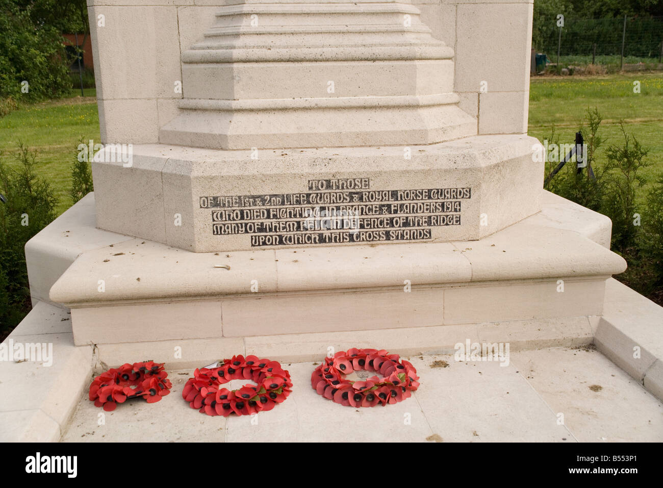 The Household Cavalry Monument at Zandvoorde near Ypres, memorial to the battles of October 1914 in the First World - Stock Image