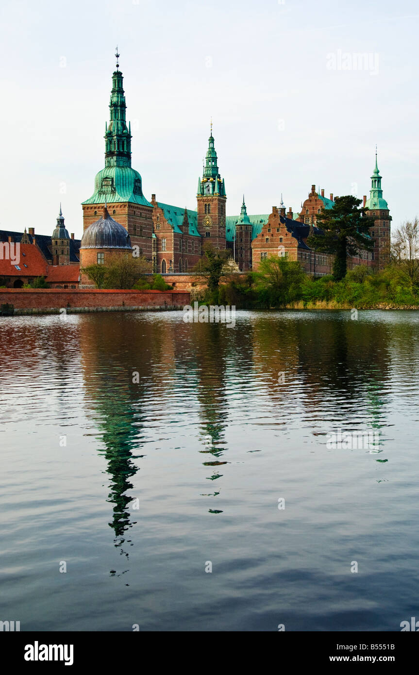 Frederiksborg Slot a Royal castle in Hillerød near København Copenhagen Denmark - Stock Image