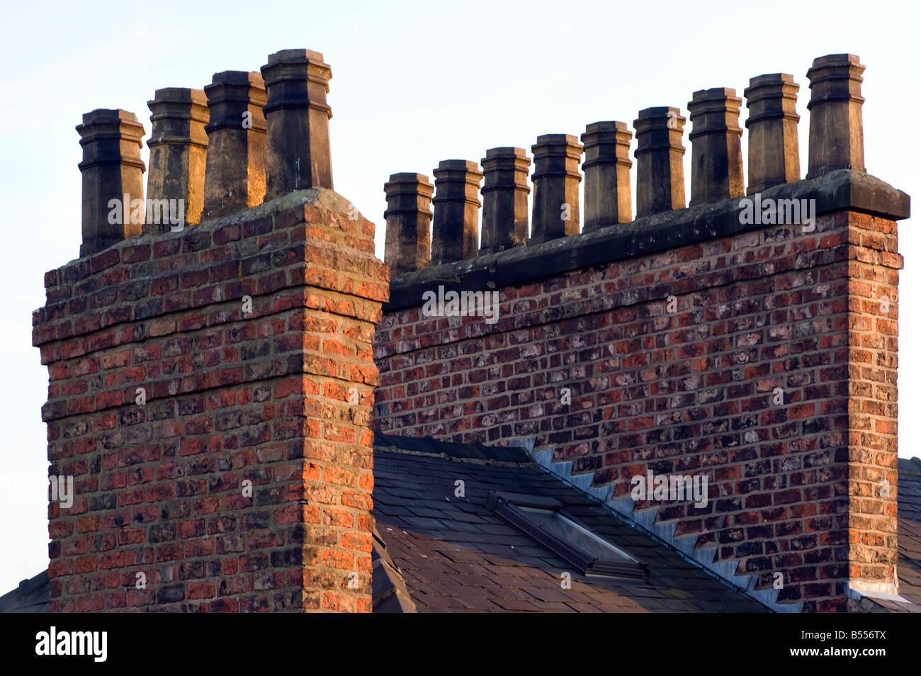 Victorian chimney pots and stacks Stock Photo