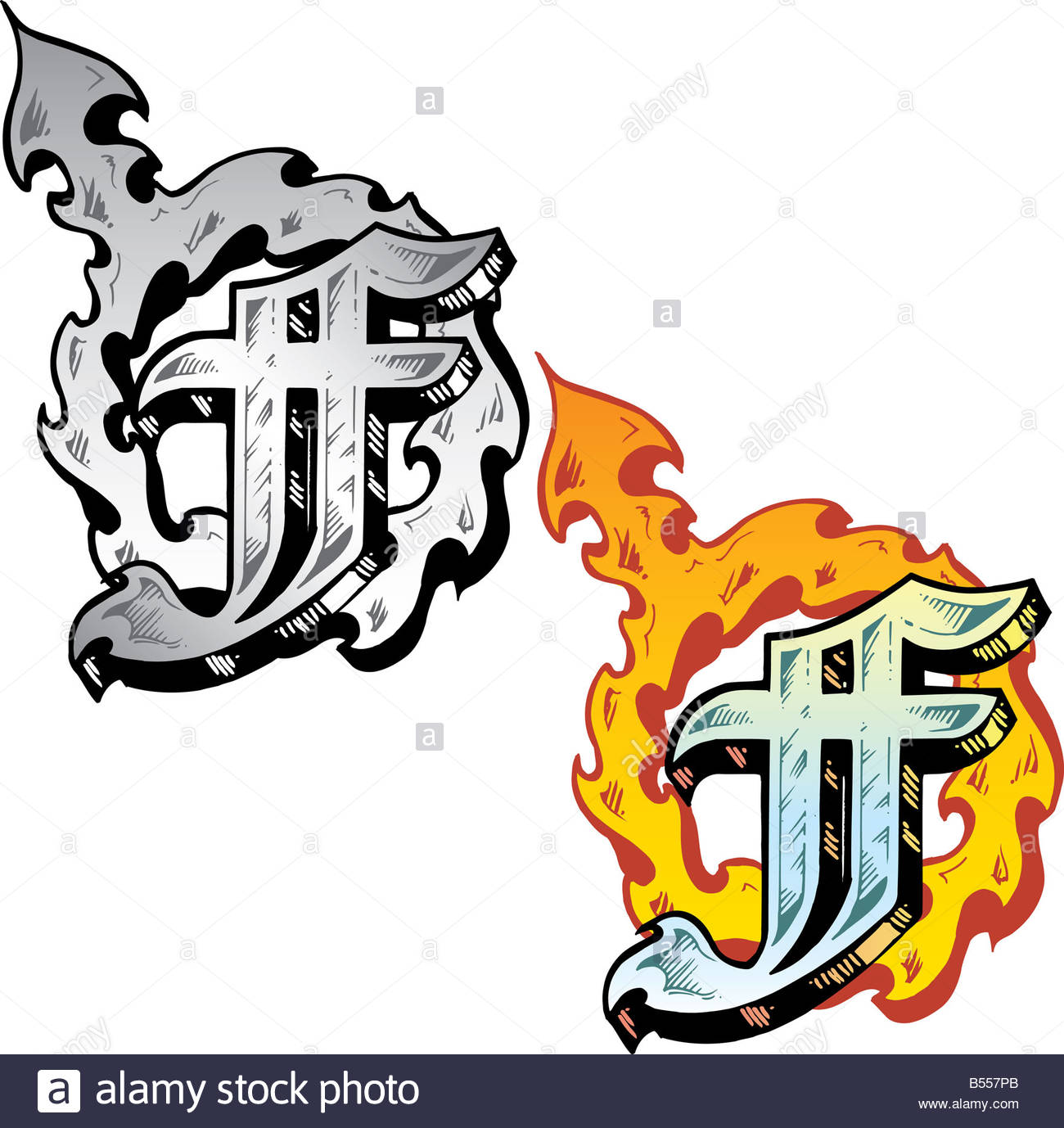 Hand Drawn Tattoo Style Letter F With Relevant Symbols Incorporated Including A Flaming Female Symbol