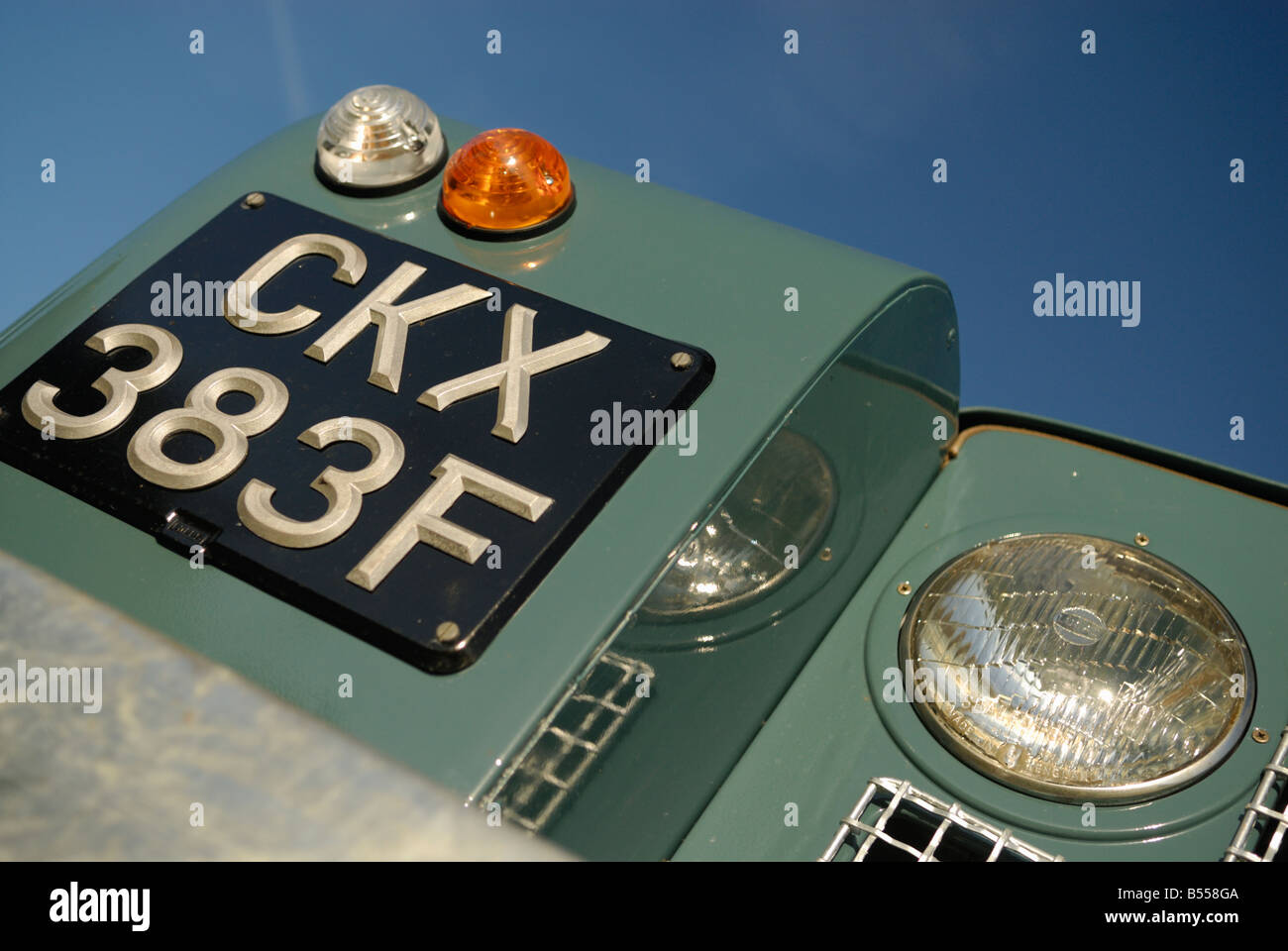 Close up of a freshly restored 1968 Land Rover Series 2a front with an age related black UK number plate. Europe, - Stock Image