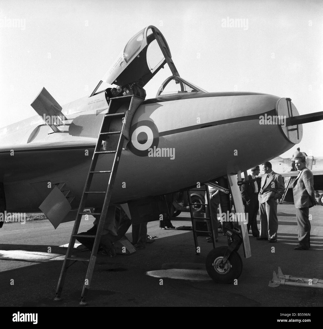 Farnborough Airshow 1953. The shorts SB5 research plane seen here parked on the apron. September 1953 D5501-002 - Stock Image