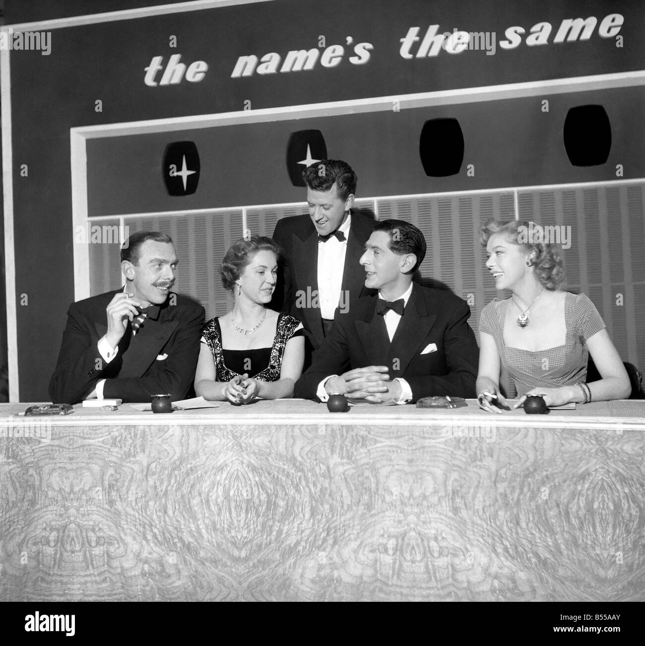 TV Programmes. The new television parlour game The Name's the Same.The host Bernard Braden standing seen here - Stock Image