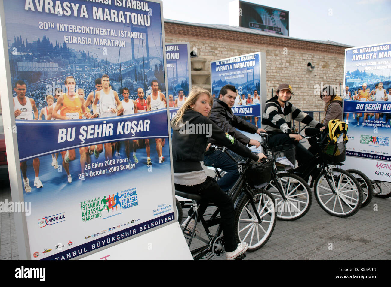 Advertising the 30th Intercontinental Istanbul Eurasia Marathon in Taksim, Istanbul, Turkey, 2008 - Stock Image