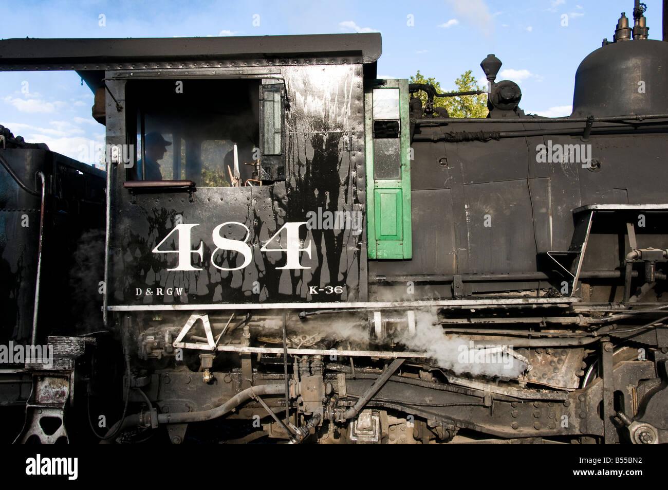 Close up of Old fashioned vintage locomotive train engine Stock Photo