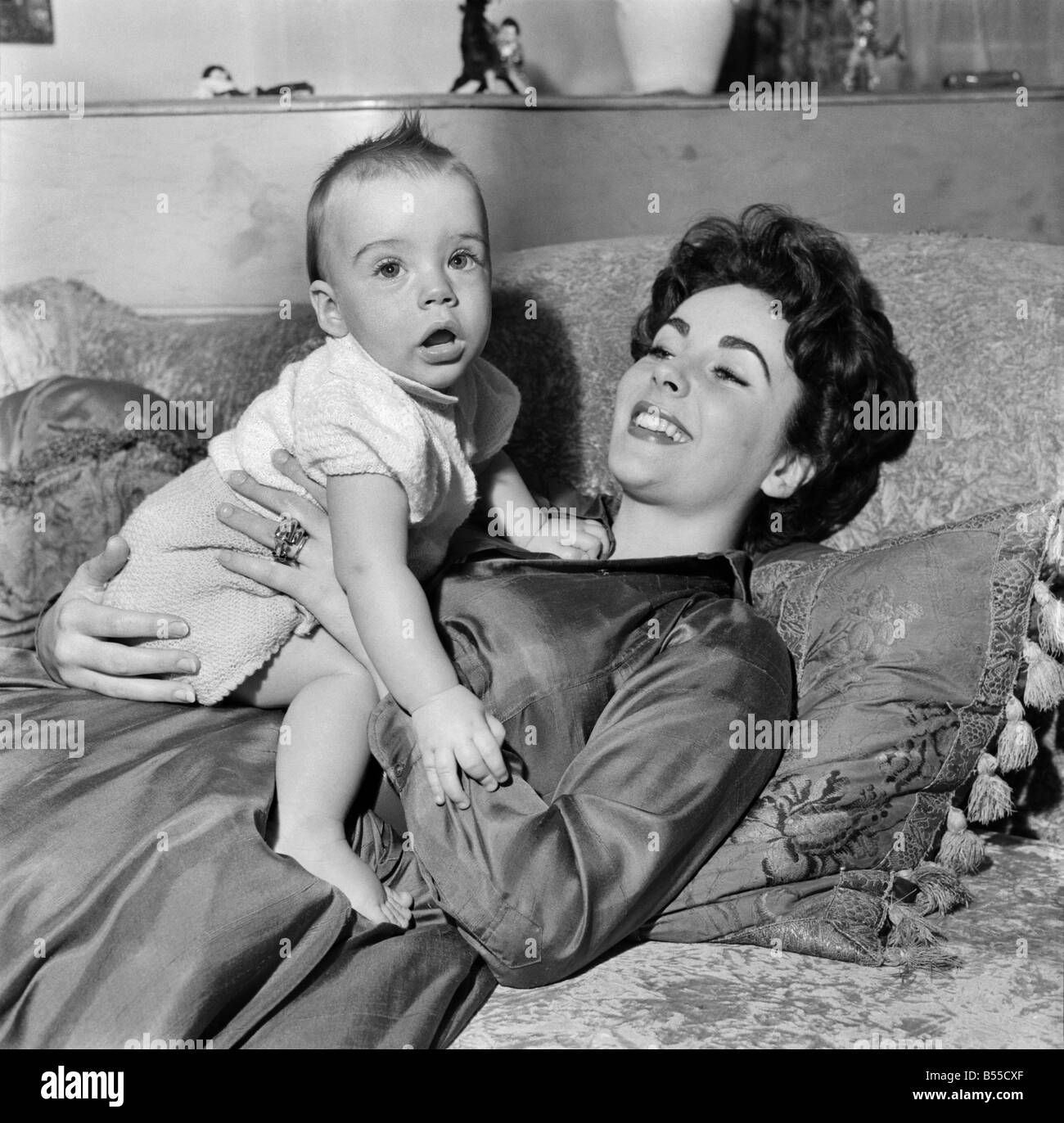 Actress Elizabeth Taylor At Home With Her Baby Son Michael