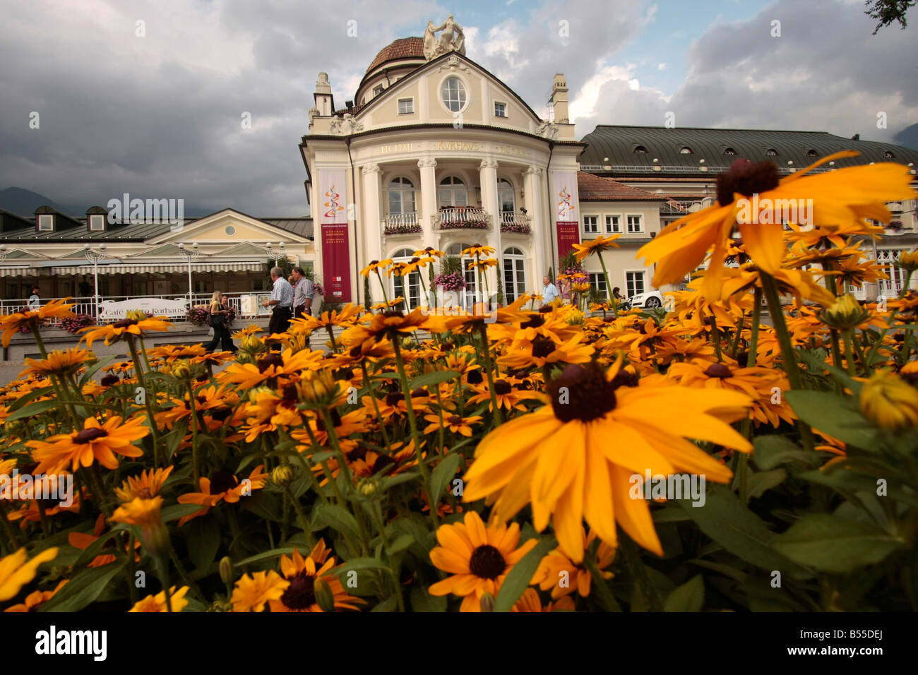 flowers in front of the Kurhaus in Merano Italy - Stock Image