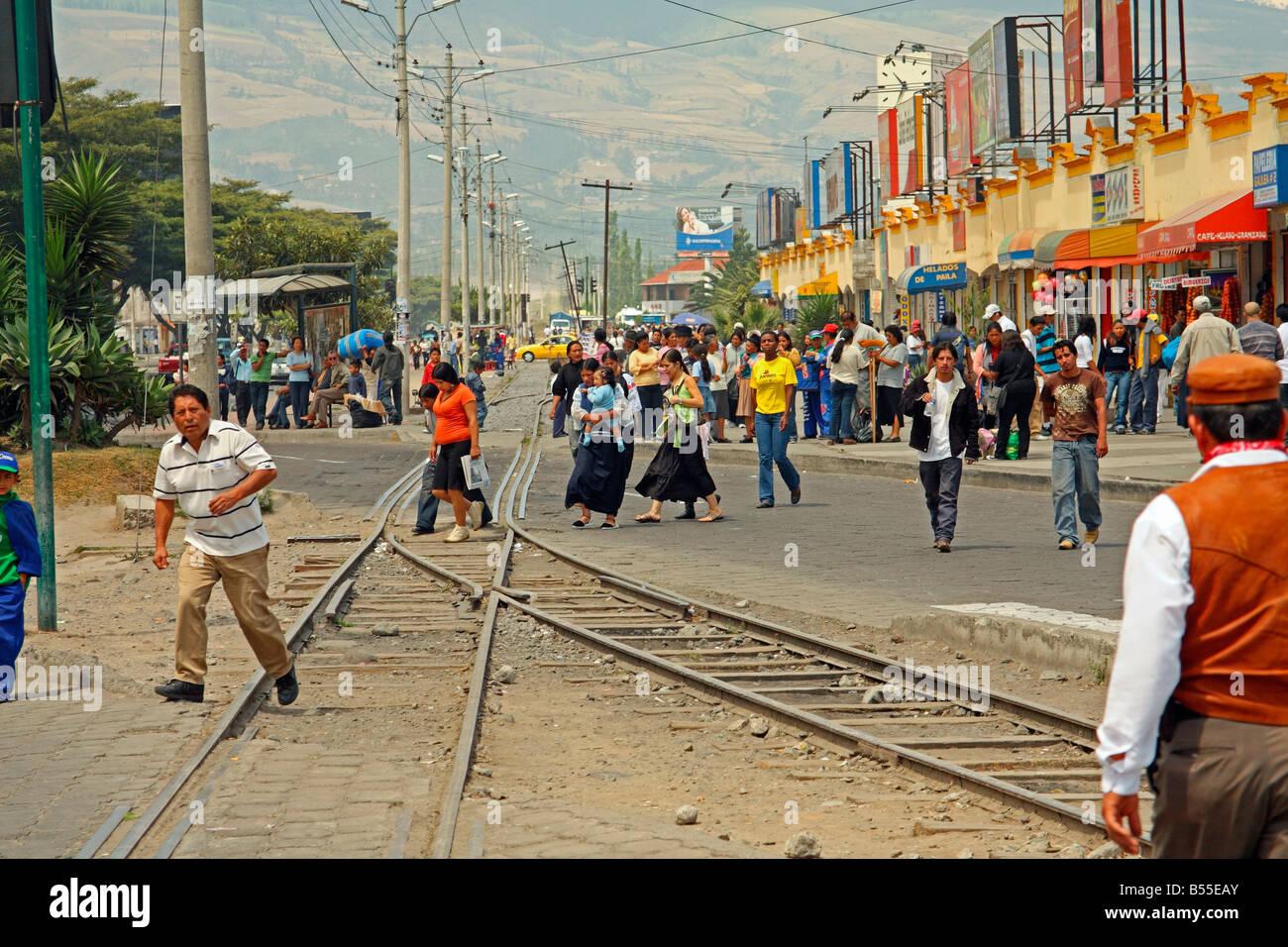 Veiw from the Chaski Antawa (Messenger Train), city of Ibarra, Ecuador - looking towards Imbabura volcano - Stock Image