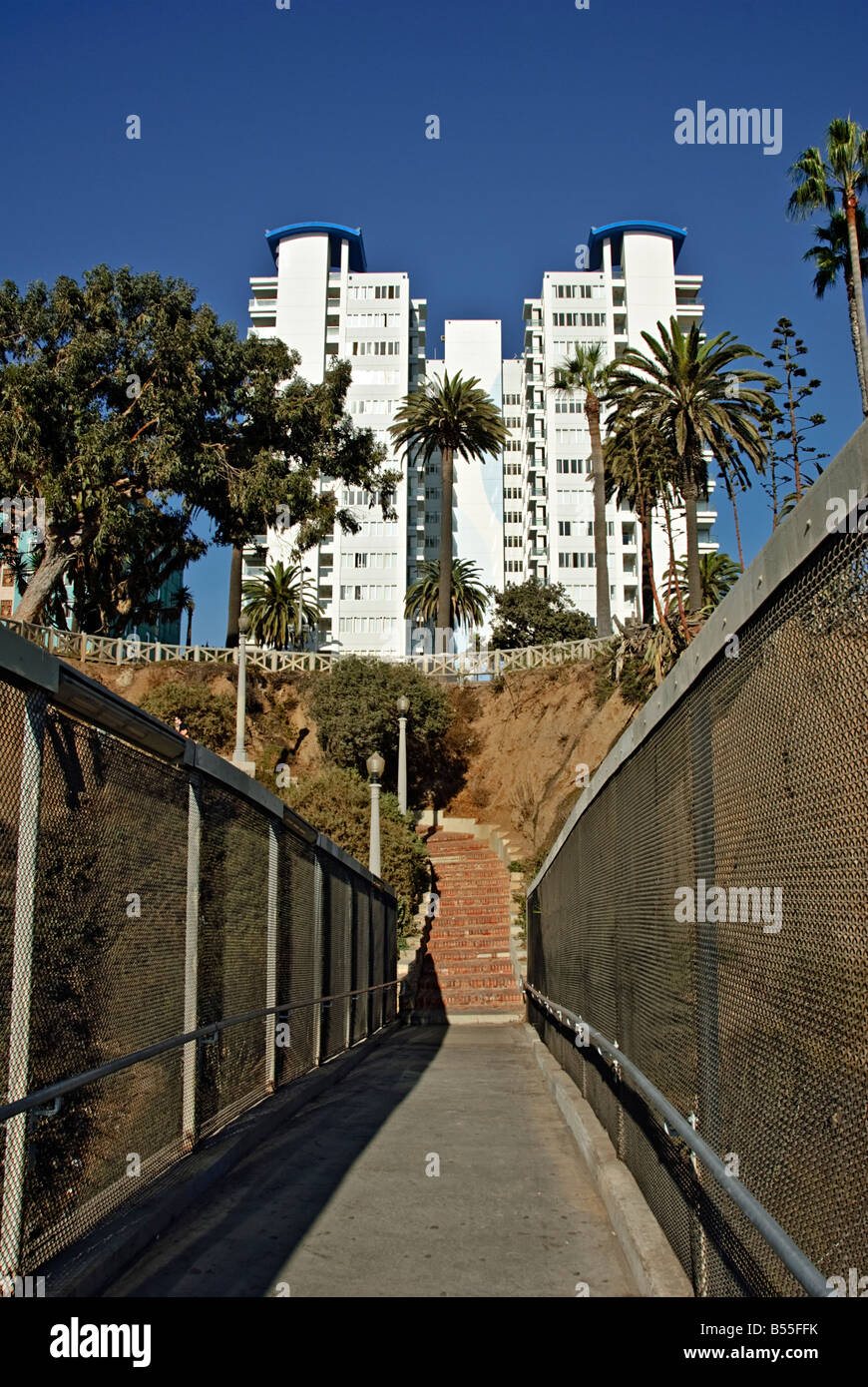 Santa Monica CA beach 'Bay City' north of the Santa Monica Pier stairway to Palisades Park or 'the palisades,' - Stock Image