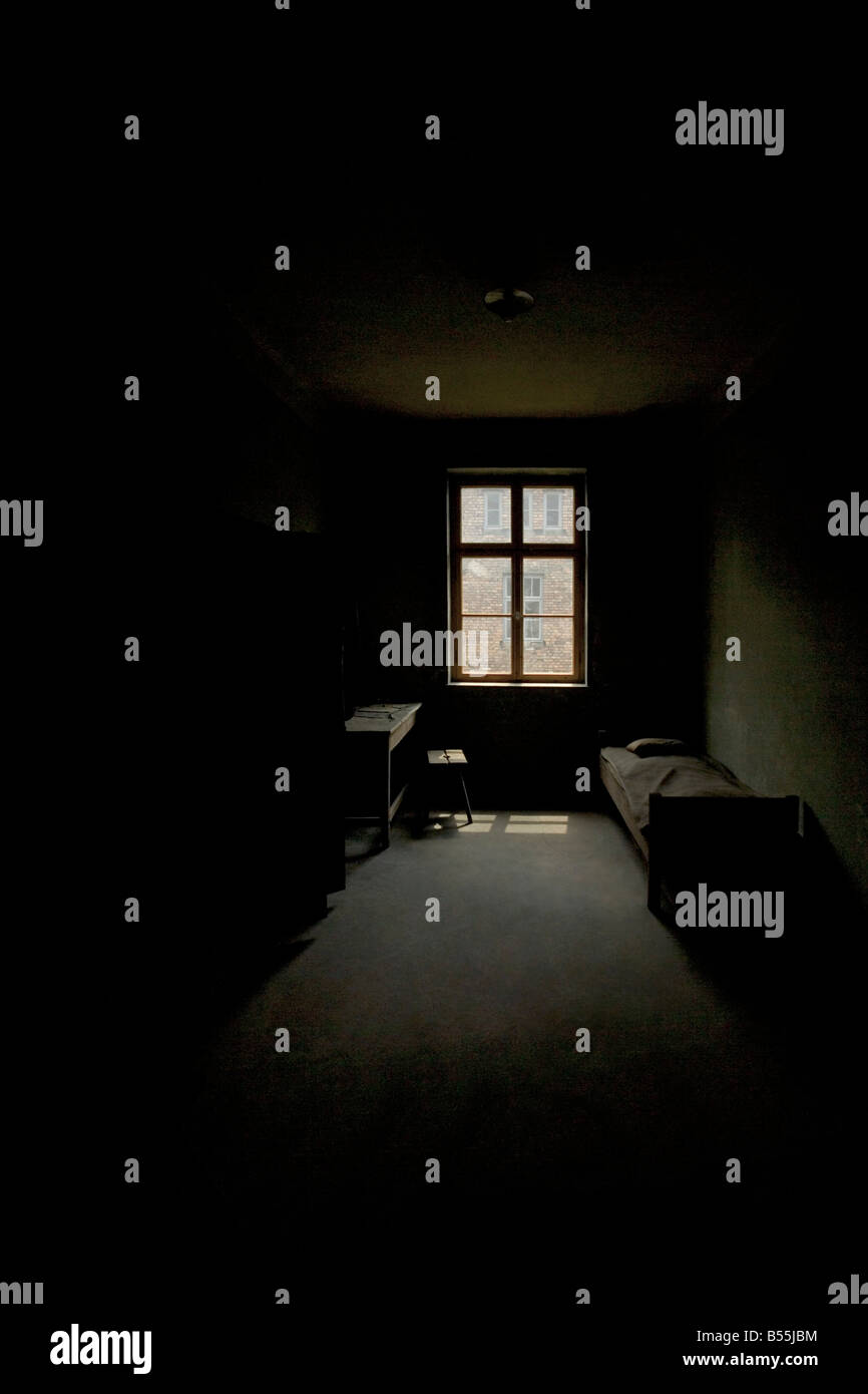 The Bleak interior of a room at Auschwitz concentration camp in Poland. - Stock Image