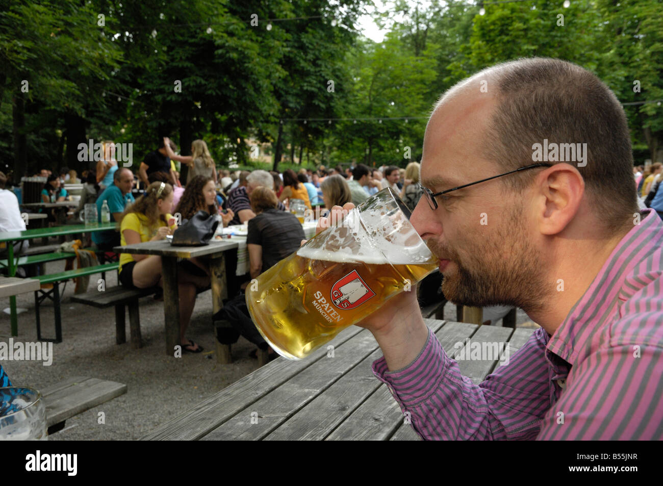 Taxisgarten, Munich beer garden, Bavaria, Germany - Stock Image