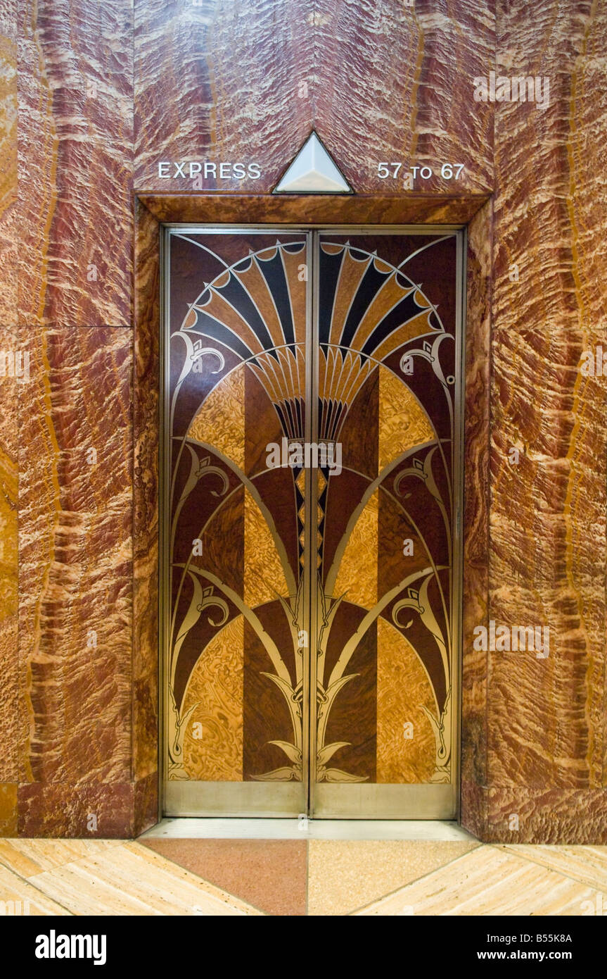 Elevator doors in the art deco lobby of the Chrysler Building in New York - Stock Image