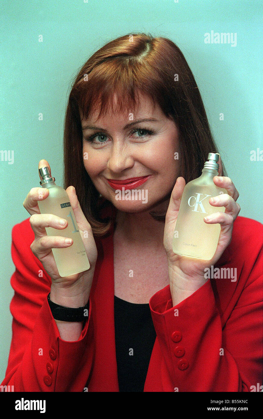 Sian Lloyd ITV weathergirl in feature on aftershaves for men and women - Stock Image