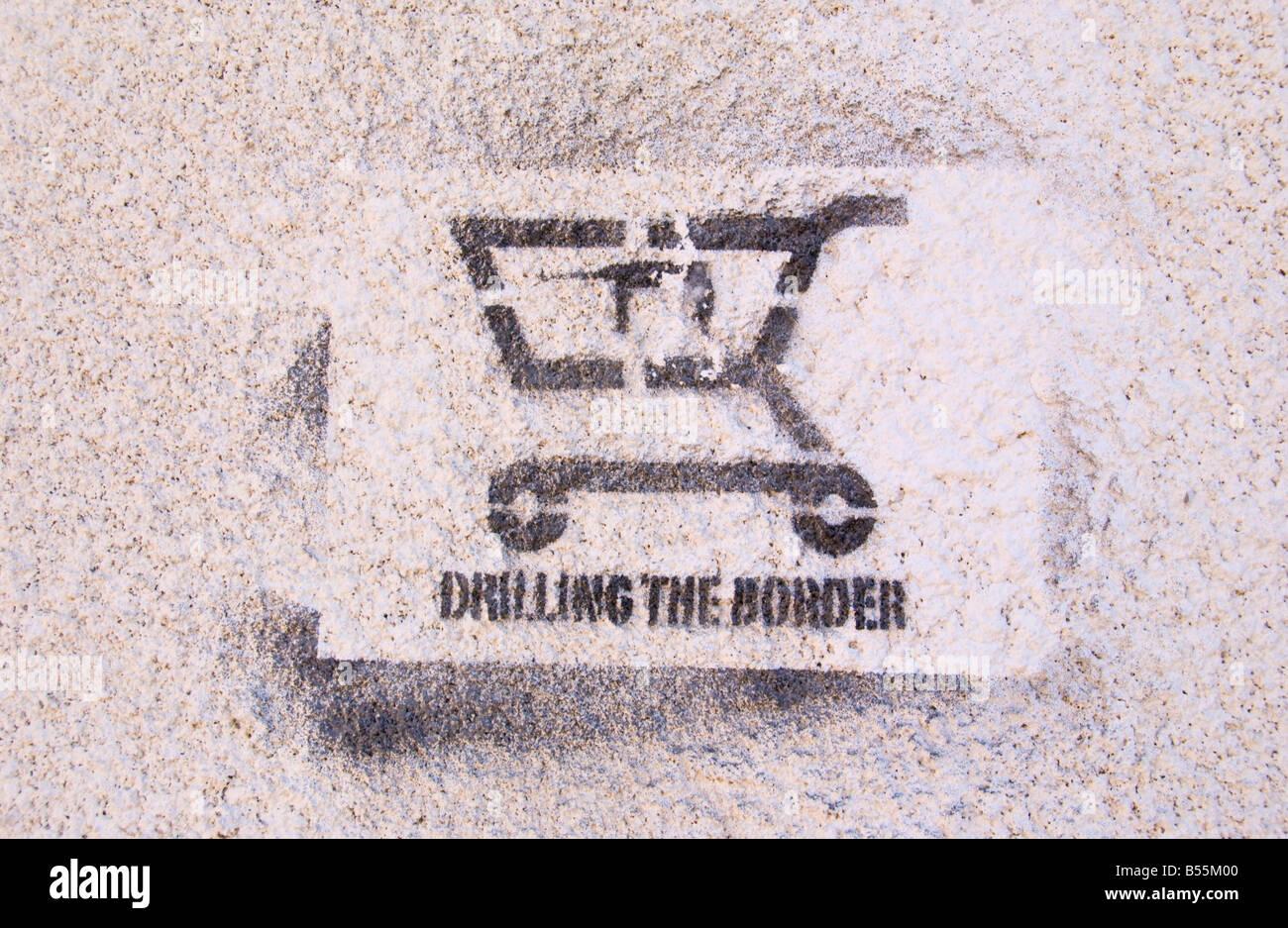 Composite Image Of Stencil Graffiti >> Drilling The Border Stencil Graffiti In Northern Nicosia Turkish