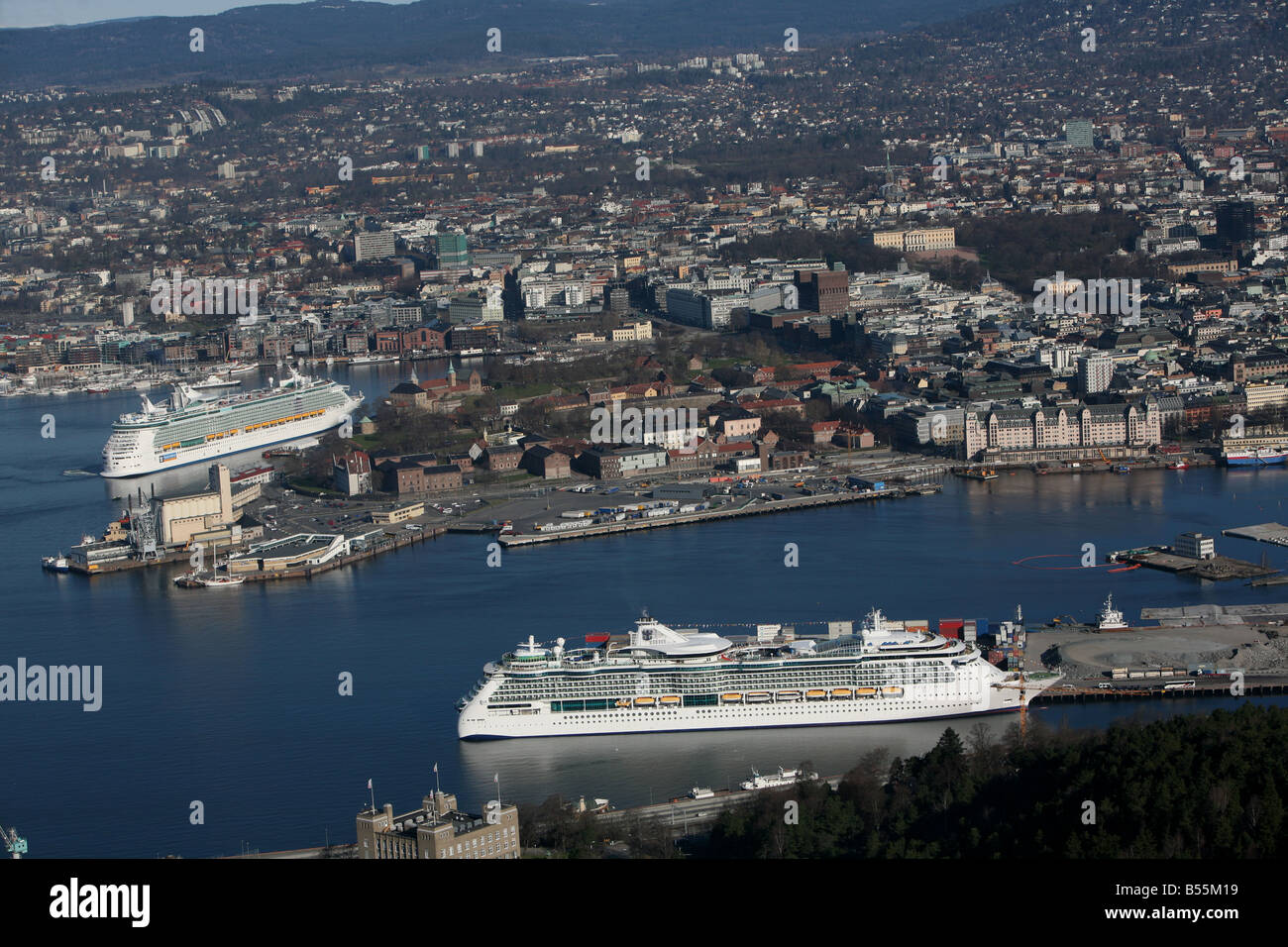 Two Cruise ships in the port of Oslo, aerial photo - Stock Image