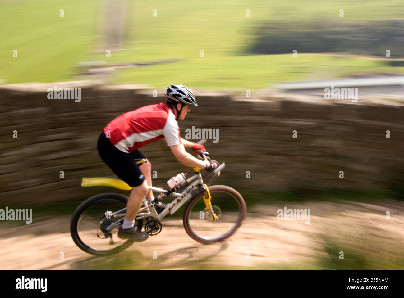 mountain biking in the Peak District National Park Derbyshire UK England GB Great Britain Stock Photo